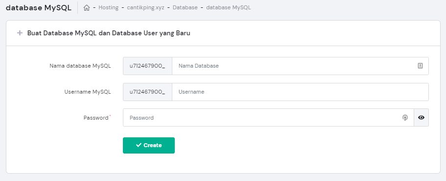 Buat database dan user