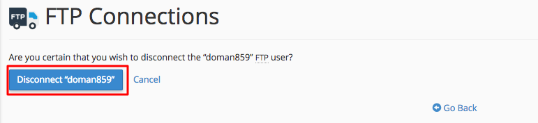 cpanel disconnect ftp confirmation
