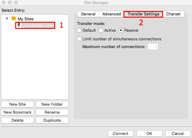 filezilla transfer settings tab
