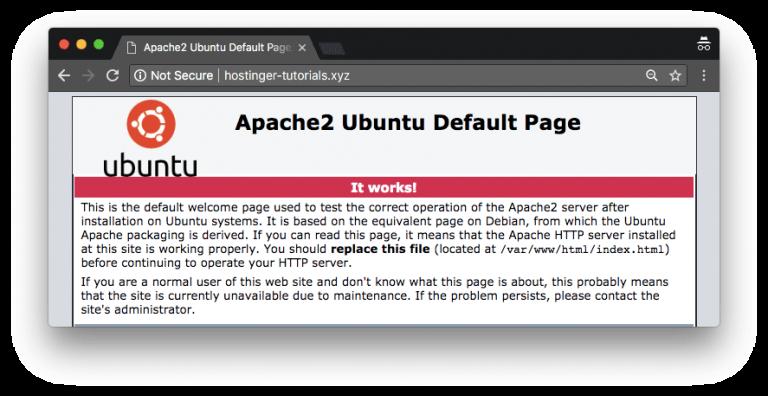 Halaman default Ubuntu