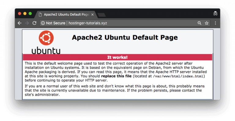Cara menghubungkan domain ke VPS - Halaman loading default Ubuntu