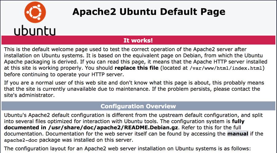 Halaman Ubuntu default Apache2