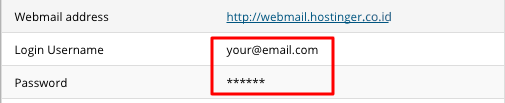 hostinger email credentials