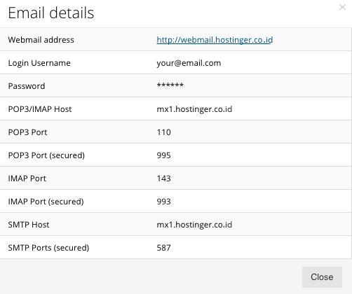 hostinger email details