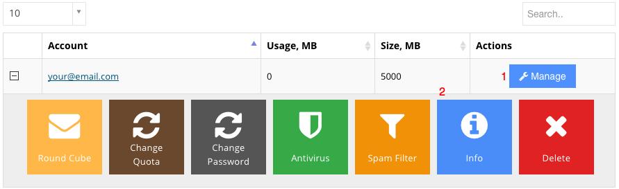 hostinger emails manage info button