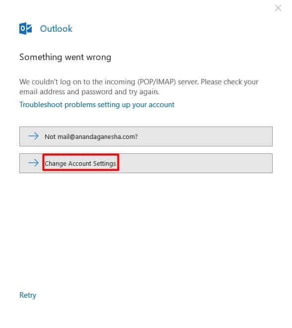 Jika error change account settings