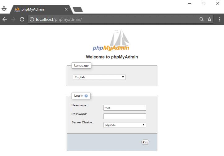 Layar login WampServer phpMyAdmin