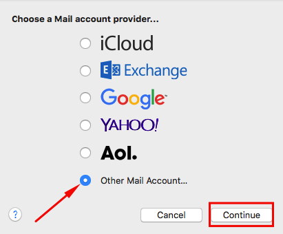 mac mail choose mail provider