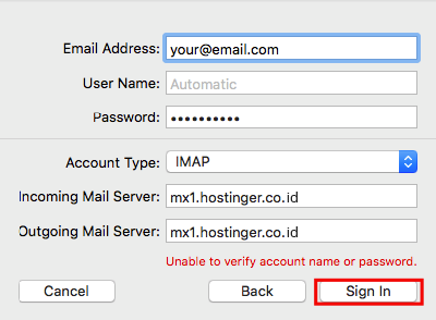 mac mail enter details manually