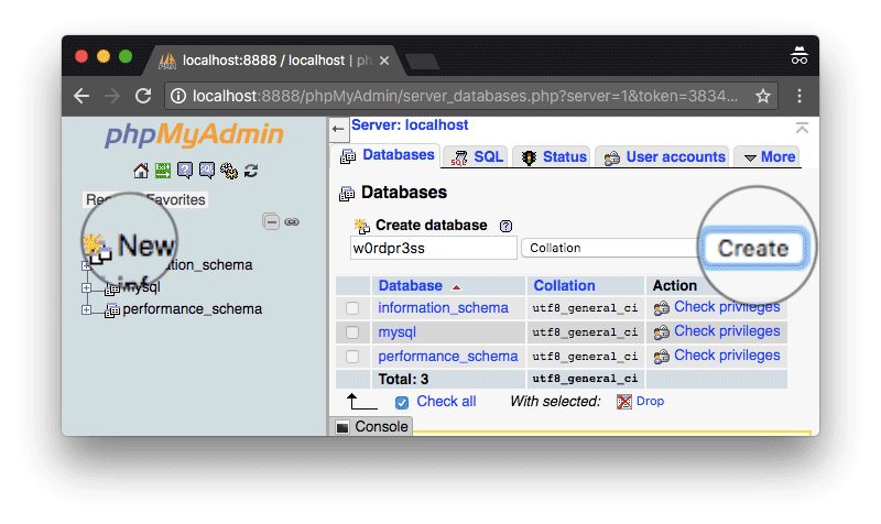 Membuat database WordPress dengan MAMP phpMyAdmin