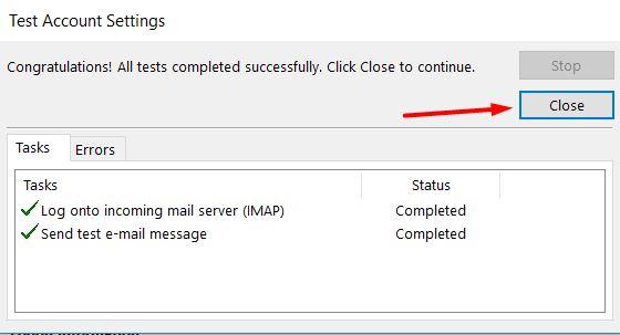 Test account settings