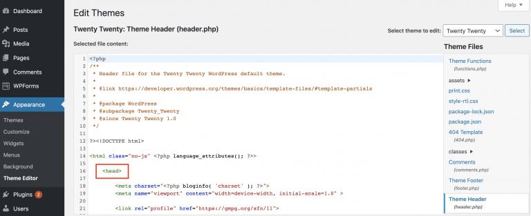 WordPress Google Analytics Header