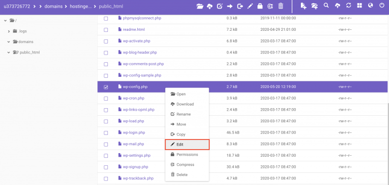 Error Establishing a Database Connection - edit file wp-config.php