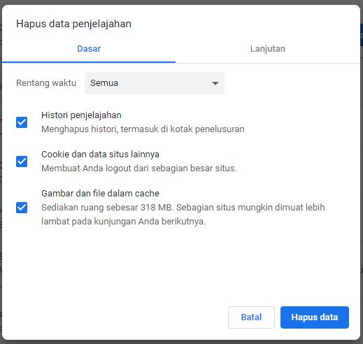 Menghapus data penjelajahan Chrome