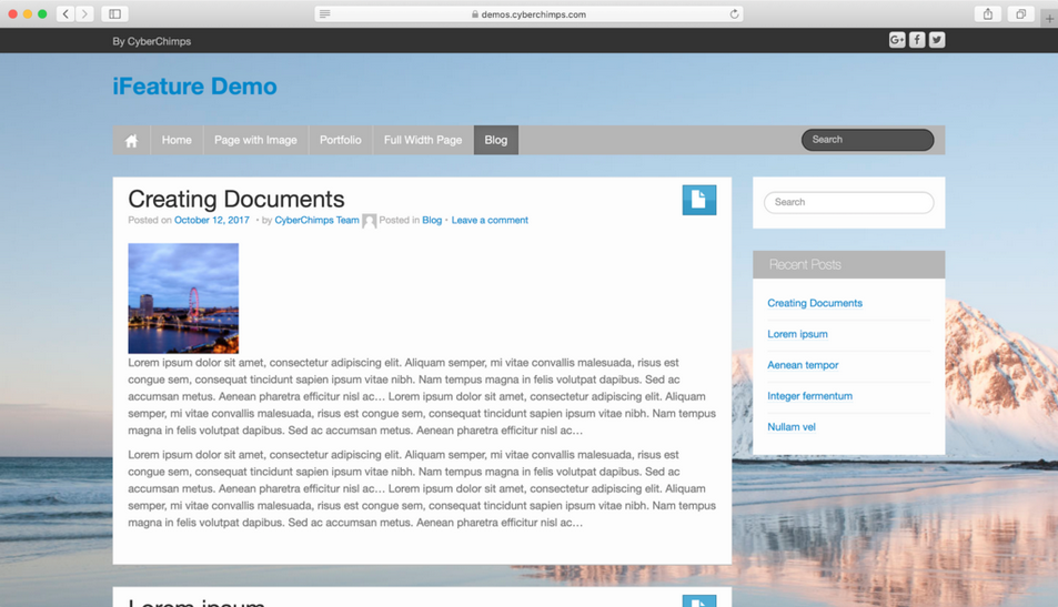 tema wordpress ifeature