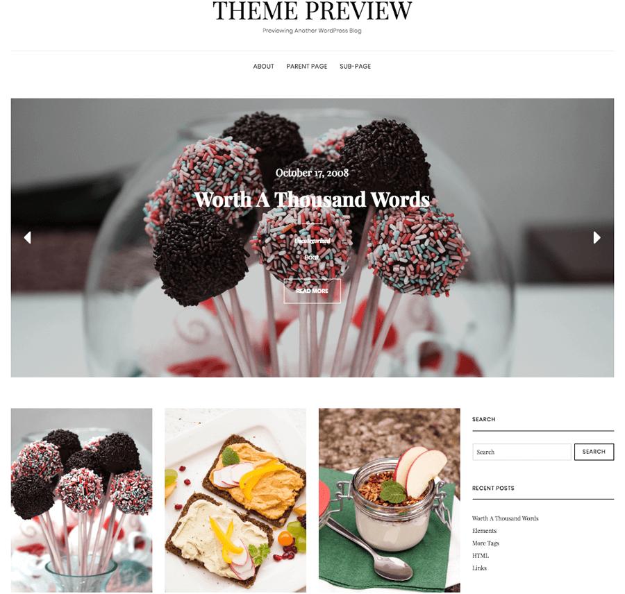 Contoh tema blog wordpress untuk makanan