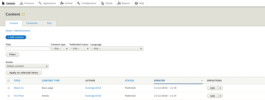Halaman konten Drupal