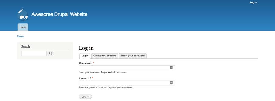 Halaman login dashboard Drupal