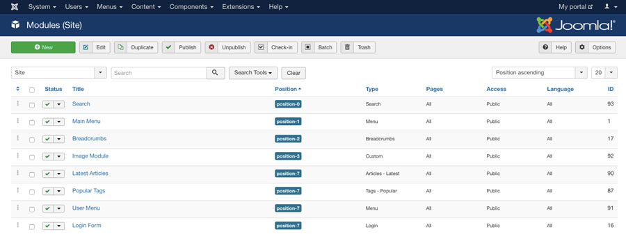 Menu module Joomla di dashboard
