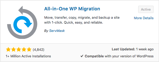 Plugin All in One WP Migration WordPress