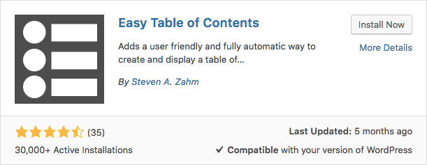 Plugin Easy Table of Contents WordPress