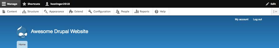 Tampilan utama dashboard Drupal