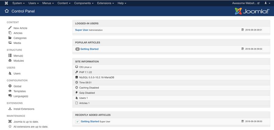 Tampilan utama dashboard Joomla