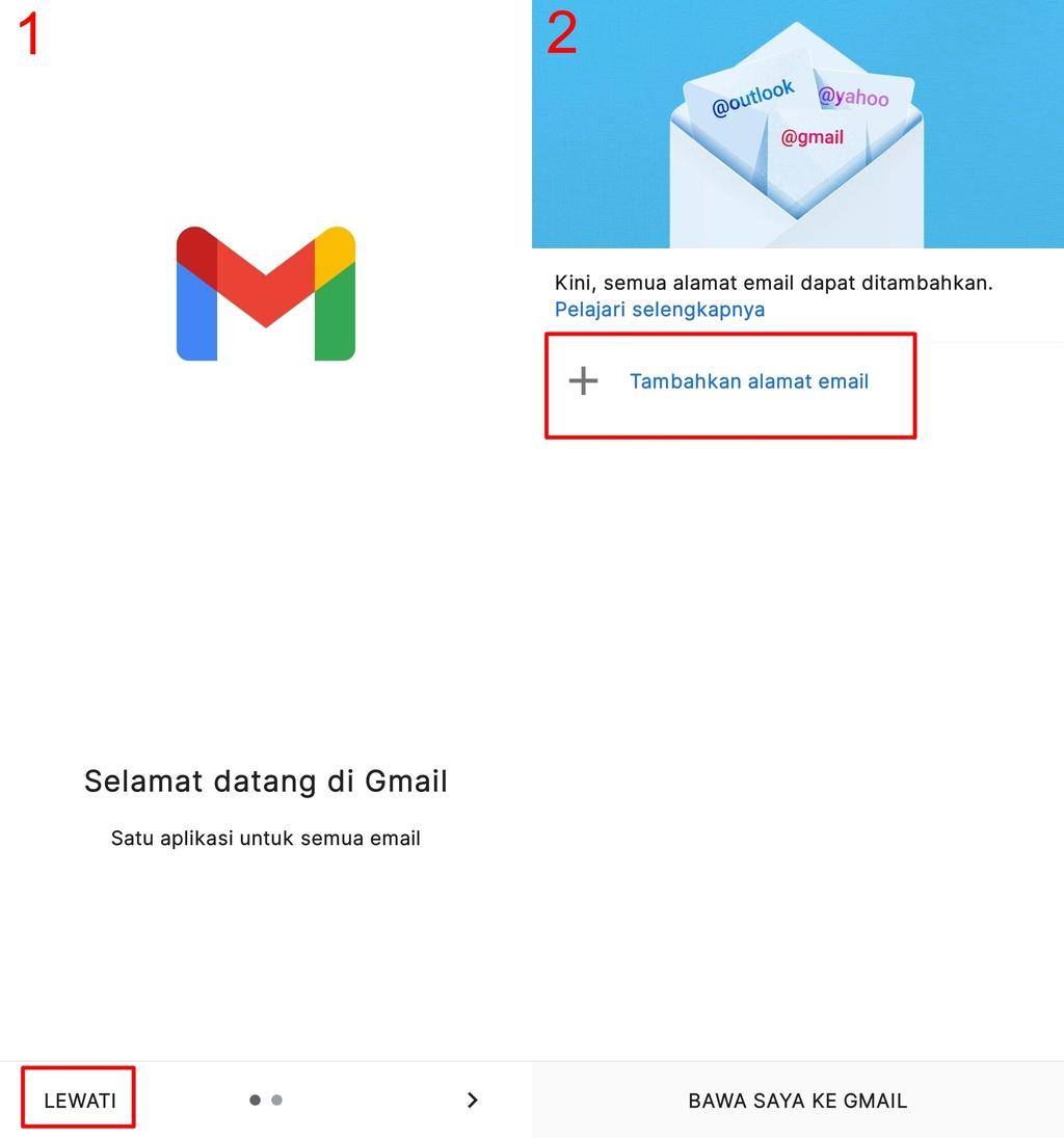 Halaman awal Gmail untuk cara membuat email