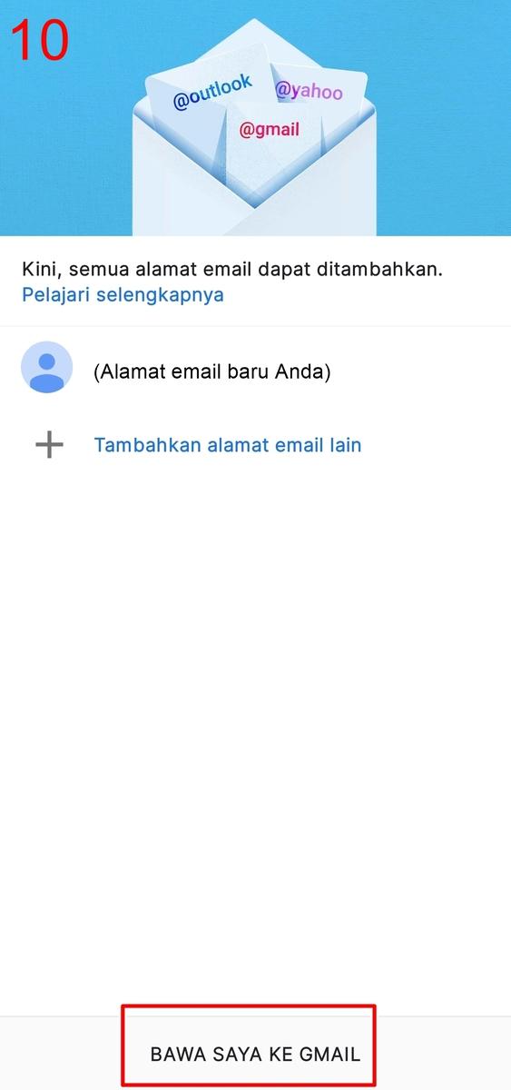 Langkah akhir cara membuat email