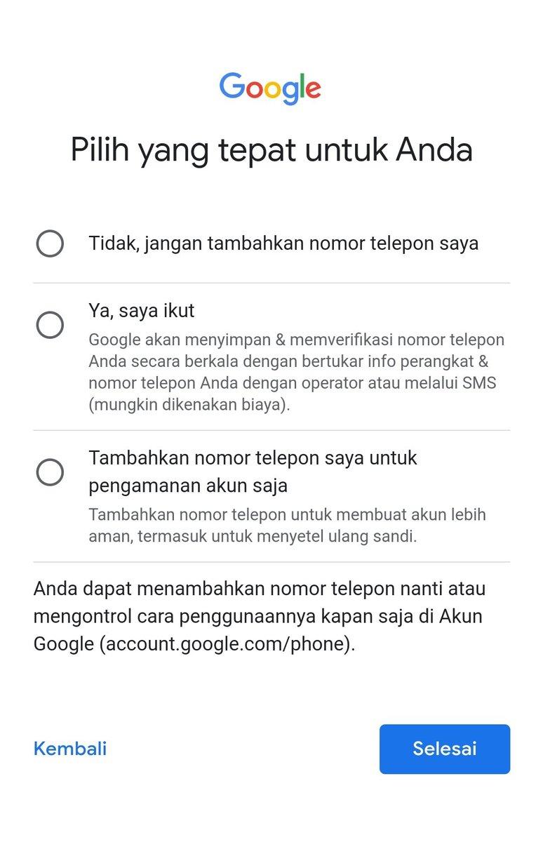 Opsi nomor telepon untuk membuat akun Gmail baru