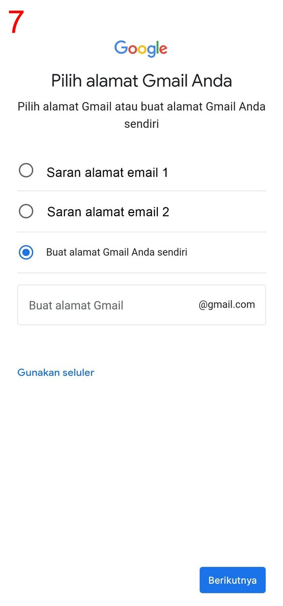 Pilih alamat untuk buat akun Gmail baru