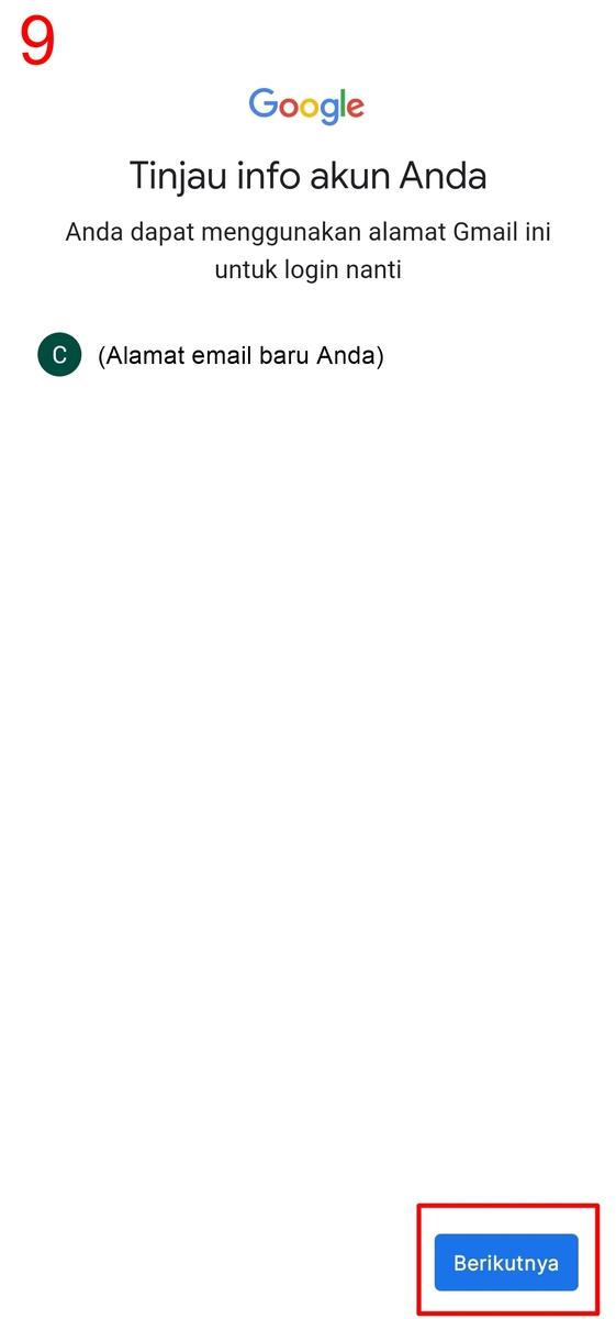 Tinjau info akun untuk cara buat Gmail baru
