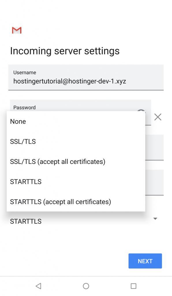 Buat akun Google - pilih Security Type