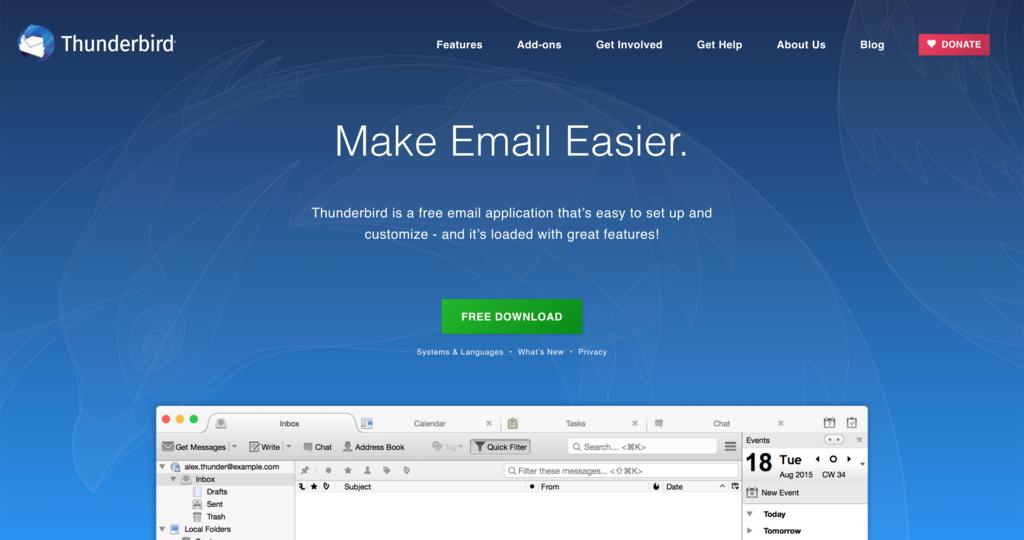 Cara setting email Thunderbird - beranda utama Thunderbird