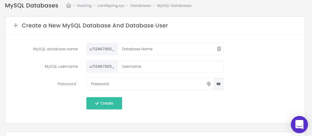 Buat database MySQL