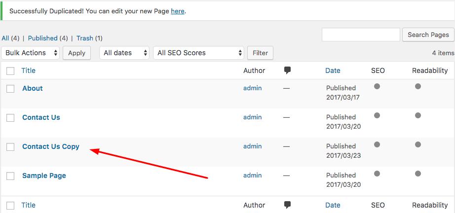 Halaman WordPress yang telah diduplikasi