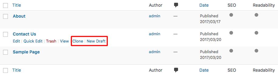 Halaman Salinan WordPress dan Buat Draft Baru