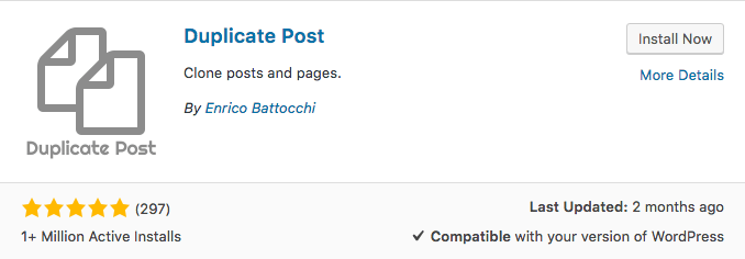 Plugin Duplicate WordPress Post