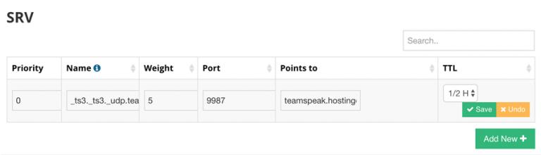 Membuat SRV record untuk subdomain TeamSpeak