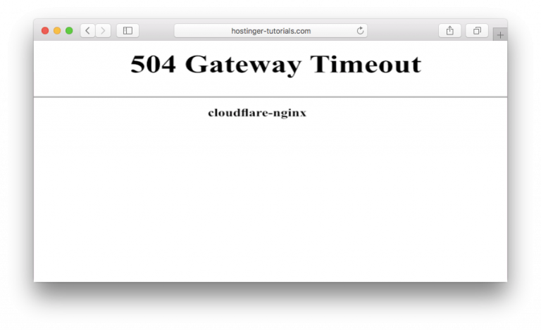 Error 504 gateway time-out di CloudFlare
