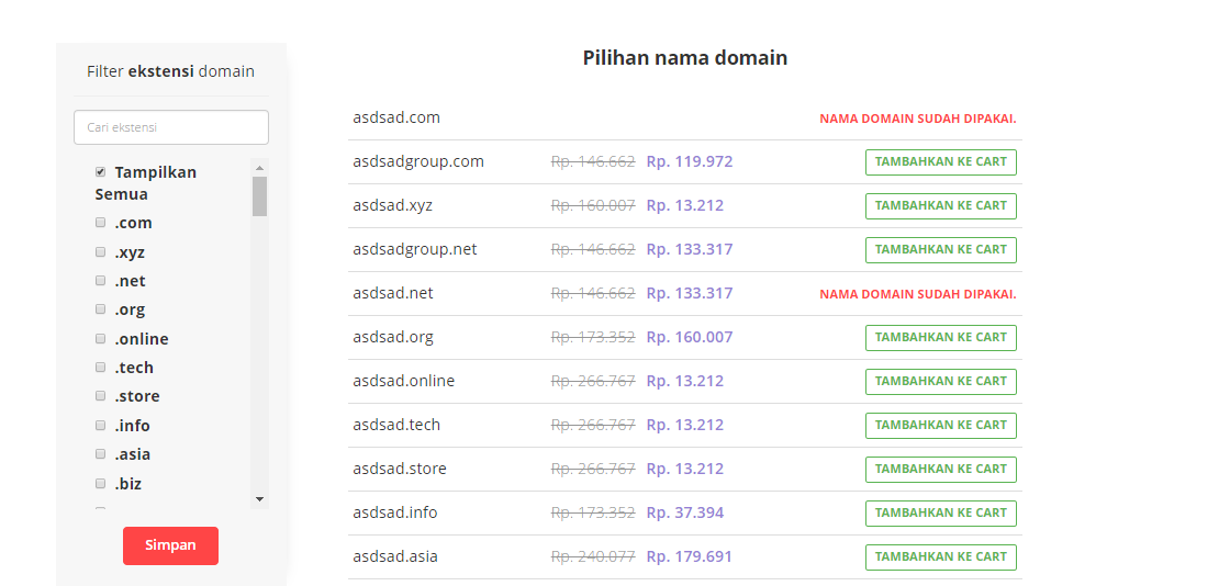 Daftar domain - fitur cek domain