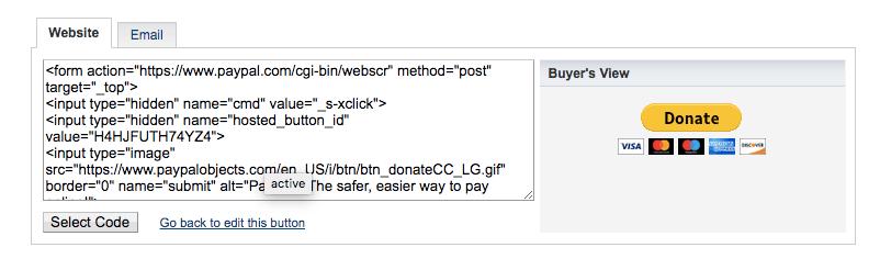 Kode tombol PayPal