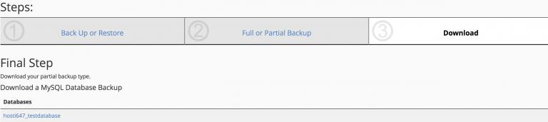 Langkah terakhir partial backup