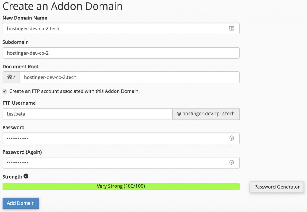 Lengkapi formulir buat addon domain