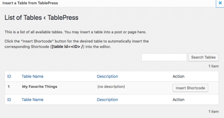 Memasukkan tabel TablePress