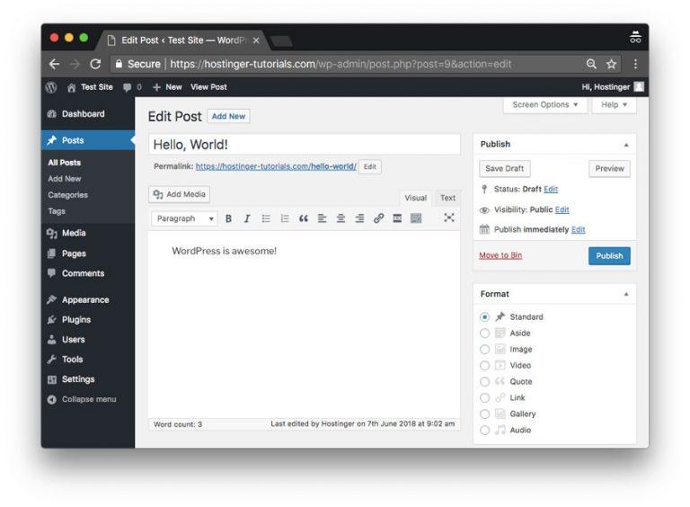 Menambahkan post baru menggunakan sistem manajemen konten WordPress