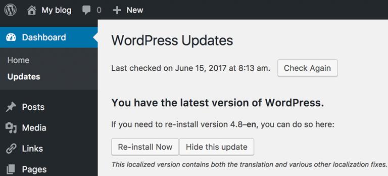 Versi WordPress di Bagian Updates