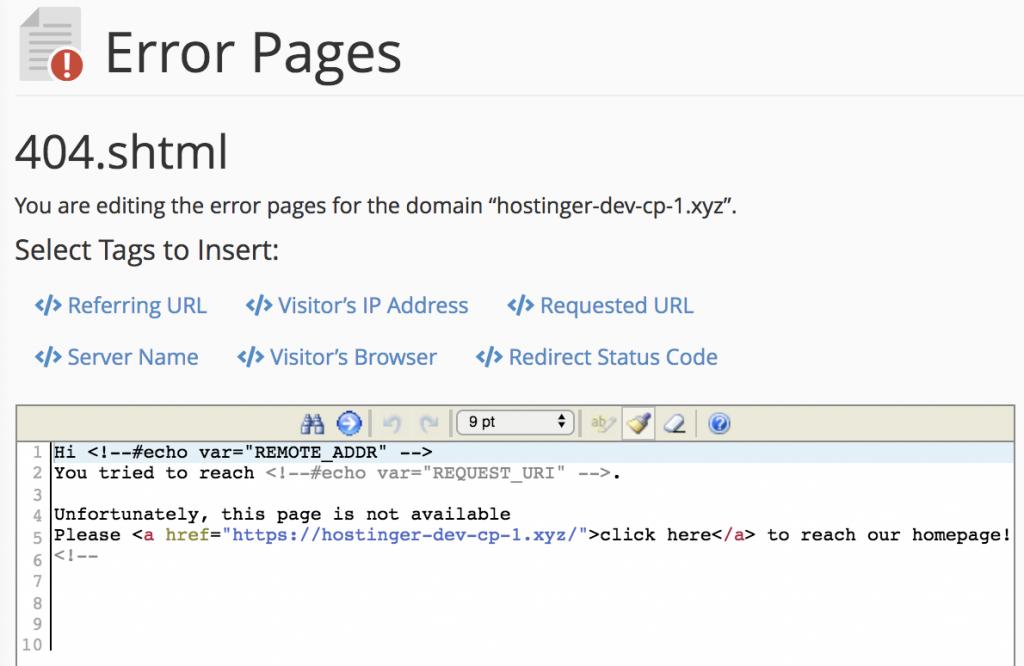 Mengedit halaman error
