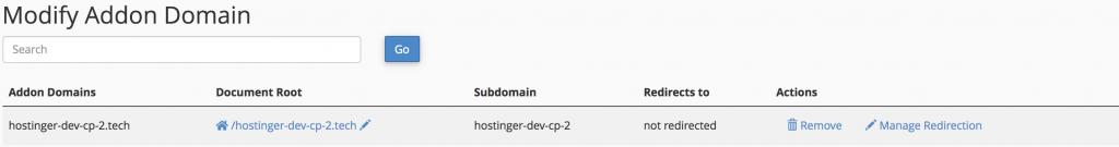Modify addon domain
