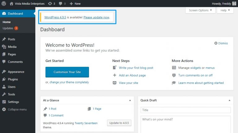 Notifikasi update WordPress di dashboard admin